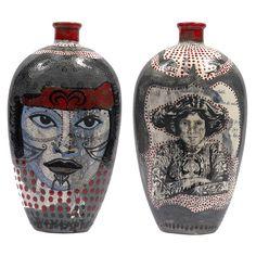 red - Vase - women - Tattoo - Evelyn Tannus - ceramic