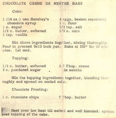 Recipe for Fannie May Mint Cake - our family's best dessert (here, it's called Chocolate Creme de Menthe Bars).