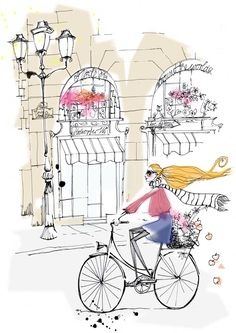illustration - bike ride through paris