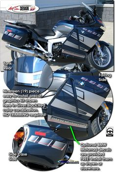 Bike specific graphic kits for BMW K 1200 GT - K 1300 GT from Auto Trim DESIGN dress up your bike and will set you apart from the pack.