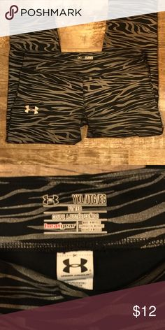 Youth XL leggings Girls Under Armour zebra striped leggings Under Armour Bottoms Leggings