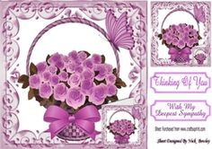 Pretty lilac roses in a basket  with small card and bow with sympathy 8x8 on Craftsuprint - View Now!
