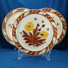 "Vernon Kilns Gale Turnbull Casa California T632 Dinner Plates (3) 10.25"" 1937-38 #VernonKilns"