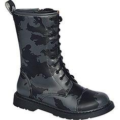 Angry Itch 8 Loch Vegan Schwarz Rangers Stiefel Schuhe Boots Stahlkappen