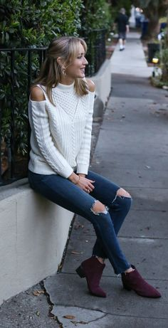 cold shoulder cableknit sweater, ripped skinny jeans, burgundy suede pointy toe flat booties