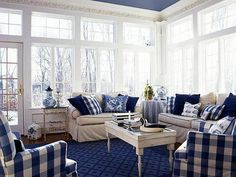 Don't be Blue - love the blue and white chairs - so inviting for a sun room