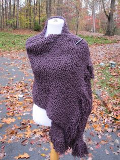 Prayer Shawl Knit Plum Purple Boucle Fringe by PoppyLesti on Etsy, $70.00