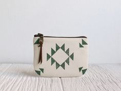 Hand-printed and sewn pouch from Milk and Honey Handbags.