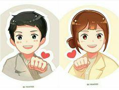 Descendants of the Sun fanart Art Drawings Sketches Simple, Cartoon Drawings, Ban Anime, Song Joong Ki Birthday, Sun Song, Love Cartoon Couple, Moonlight Drawn By Clouds, Cute Couple Wallpaper, Korean Anime