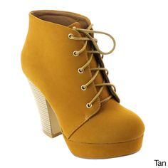 Bonnibel Dustin-1 Women's Chunky Heel Platform Up Ankle Booties