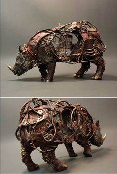 Steampunk Tendencies | Mechanical Rhinoceros by Creaturefromel New Group : Come to share, promote your art, your event, meet new people, crafters, artists, performers... https://www.facebook.com/groups/steampunktendencies