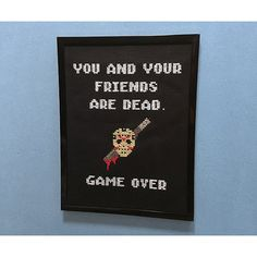 You and your friends are dead. Game over.  Mother told me to create this custom game over screen cross stitch inspired by the classic 80s Friday the 13th Nintendo game-- which was rated one of the worst NES games of all time.  Listing is for one (1) custom handmade Jason NES completed cross stitch inspired by the Friday the 13th 80s Nintendo game.  Cross stitch measures 6 x 8 inches & comes in frame shown.  Frame can be hung or placed on any flat surface.  If you are just interested in the…
