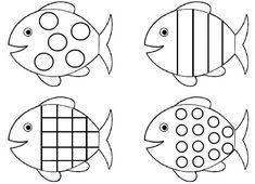 Planche-de-poissons-à-formes-geometriques. Shark Coloring Pages, Fish Coloring Page, Colouring Pages, Coloring Pages For Kids, Coloring Books, Ocean Crafts, Fish Crafts, Fish Patterns, Applique Patterns
