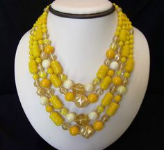 West Germany Vintage Yellow Glass Bead Silver by AnnesGlitterBug