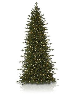 This beautiful slim Christmas tree is an elegant re-creation of a natural Red Spruce tree, right down to its reddish-brown branches and light-green foliage.