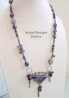 Schaef Designs Tiffany Stone bertrandite, amethyst & Sterling Silver Necklace  | New Mexico