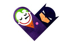Versus/Hearts is about rivals.  Rivals hate each other, but deep inside they know they couldn't exist without the other - by Dan Matutina #Joker #Batman #DarkKnight