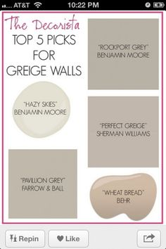 Greige... Possible master bedroom paint colors