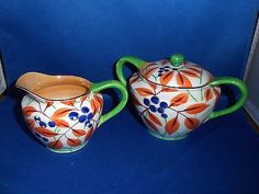 Sugar Bowl & Creamer - Gold Castle Chikusa Made in Japan - Vintage Handpainted