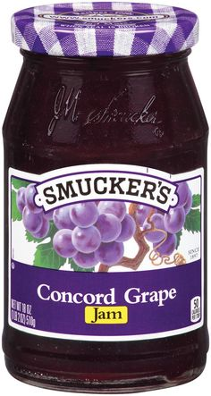 Concord Grape Jam from Smucker's® Smuckers Jam, Jam Sandwiches, Breakfast In America, Wooden Play Food, Grape Jam, Freezer Jam, Ice Cream Toppings, New Flavour, Food Containers