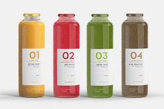 Juice Detox - This juice detox program from Barcelona boasts an elegant packaging scheme that even slightly brightens up the thought of taking part. Juice Branding, Juice Packaging, Beverage Packaging, Bottle Packaging, Water Branding, Identity Branding, Visual Identity, Food Packaging Design, Packaging Design Inspiration