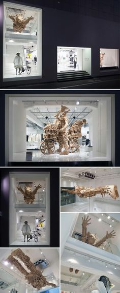 """""""Queen"""" and """"Hero"""" by Koutarou Sekiguchi. He sculps small items from newspaper and packing tape, then combine them into a huge piece.  He works to Michael Jackson's music."""