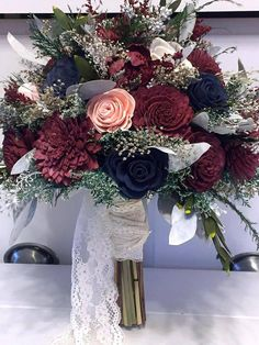 Burgundy Pink Navy Wedding Bouquet Made with Sola Flowers - Fall Wedding - . Burgundy Pink Navy Wedding Bouquet made with sola flowers - Fall wedding - Burgundy Pink Navy Wedding Bouquet made with sola flowers - Fall wedding - Wedding Themes, Our Wedding, Dream Wedding, Wedding Venues, Marine Wedding Decorations, Rustic Wedding, Marine Wedding Colors, Navy Wedding Colors Fall, Wedding Ceremony