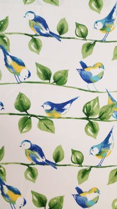 FEATHERED FRIENDS GARDEN Solarium Outdoor Fabric Blue Birds Leaves Branches White partial yd Excellent Fabric for Creative Genius Projects