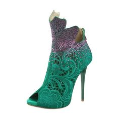 Peacock inspiration ❤ liked on Polyvore featuring shoes, boots, heels, green shoes, peacock print shoes, high heel shoes, gianmarco lorenzi and peacock shoes