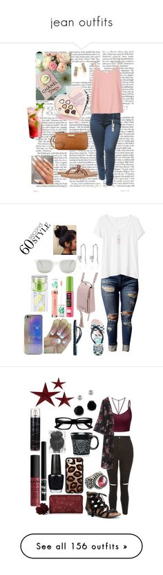 """""""jean outfits"""" by skylovessave ❤ liked on Polyvore featuring River Island, Roxy, Nine West, Shana Gulati, WithChic, Gap, Vans, Belk Silverworks, Maybelline and Sephora Collection"""