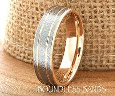 Rose Gold Wedding Band Ring Two Tone Man Wedding Band Male Women Custom Laser Engraving Anniversary Handmade Double Grooved New Mens Tungsten Mens Rings, Tungsten Wedding Bands, Wedding Ring Bands, Tungsten Carbide, Laser Engraving, Engraving Ideas, Best Diamond, Black Rings, Ever After
