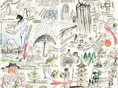 Trompe l'oeil wallpaper CARTE JAPON Carnets de Voyage Collection by Incréation | design Philippe Goron