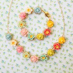 Children Flower Necklace and Bracelet Gift Set, Little flowers, Birthday Gift Set. $50.00, via Etsy.