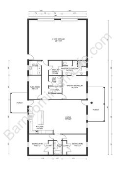 Top 20 Barndominium Floor Plans Barn Homes Floor Plans, Pole Barn House Plans, Bedroom Floor Plans, Pole Barn Homes, New House Plans, House Floor Plans, Pole Barns, Cabin Plans, Metal Building Homes