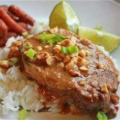 "Slow Cooker Thai Peanut Pork | ""This was fantastic! The pork was so tender and the sauce flavorful. Has become a family favorite."""