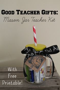 Don't give your teacher a gift that she's received hundreds of times before...make her a fun and unique DIY teacher gift for back to school, Christmas, or end of year token of appreciation. This easy and inexpensive mason jar idea will make any teacher's day!
