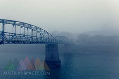 Austria, Salzburg State, Salzburg, bridge over Salzach river in fog Salzburg, Sydney Harbour Bridge, Bridges, Austria, World, Gallery, Travel, Tights, Destinations