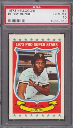 1973 Kellogg's #8 Bobby Bonds Giants PSA 10 by Kellogg's. $12.25. 1973 Kellogg's #8 Bobby Bonds Giants PSA 10. If multiple items appear in the image, the item you are purchasing is the one described in the title.