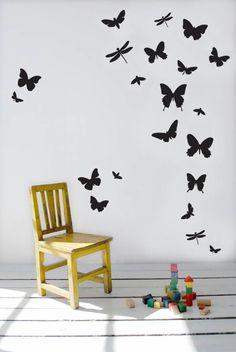 Ferm+Living+Muursticker+Butterflies+zwart+vinyl+50x50cm+(verstelbare+grootte) 38 euro