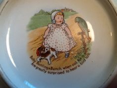Antique 1905 Royal Baby Bunting Bunch Children's Plate with Dog Parrot