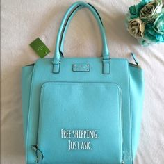 Lowest price.Kate Spade Robbinsegg Baxter Street 100% authentic. NWT. NO TRADES. Best in bags HP Designer: Kate Spade  Color: Robbinsegg Style: Baxter Street Dimensions: 14h x 18w x 4.5d kate spade Bags Shoulder Bags