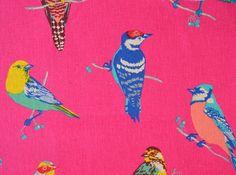 Wunderschöner leuchtender Leinen- Baumwollstoff von Etsuko Furuya für KOKKA mit bunten Vögeln auf pinkfarbenem Hintergrund...  Toll für Decken, Kissen, Taschen, Vorhänge, Tischdecken uvm...  Ab 0,5 Meter  Bei Mehrkäufen werden die günstigsten Versandkosten bestimmt.  Für Deutschland: Das maximale Porto beträgt 4,90€.