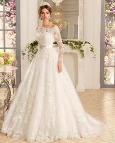 New Arrival Off the Shoulder with Beaded Sash A Line Long Sleeve Lace Wedding Dress