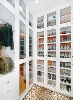 Shoe Cabinet Contemporary Closet Jamie Herzlinger Glass Front Built In Cabinets With Hermes Orange Paper Lining And
