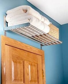 Towel storage bathroom comes in immense options that will blow your mind. Grab some inspiring ideas of savvy towel storage for bathroom only right here! Small Bathroom Storage, Bathroom Organization, Storage Spaces, Small Bathrooms, Storage Organization, Bathroom Ideas, Door Storage, Bathroom Shelves, Storage Design
