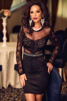 Rhinestone Waist Very feminine Lace Insert Mini Dress ❤ 'Add this one to your wishlist!' #womenclothing #womendresses #womenfashion