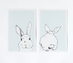 Osterkarten - Postkarten Set Osterhasen - ein Designerstück von lumilarie bei DaWanda