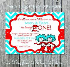 Thing 1 and Thing 2 Dr. Seuss inspired Cat in by DazzlingDarlings