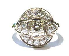 Unique Retro Diamond Gold Cluster Ring  2
