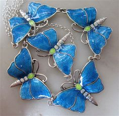 Sterling Silver and Blue Enamel Butterfly Necklace by Charmian